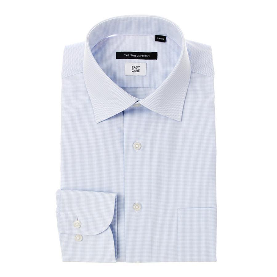 ドレスシャツ/長袖/メンズ/ワイドカラードレスシャツ ギンガムチェック 〔EC・BASIC〕 サックスブルー×ホワイト