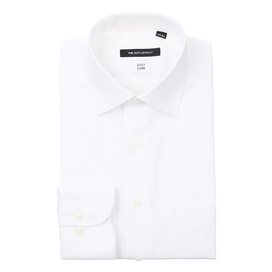 ドレスシャツ/長袖/メンズ/ワイドカラードレスシャツ シャドーストライプ〔EC・BASIC〕 ホワイト