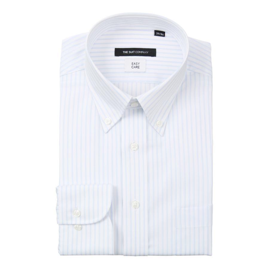 ドレスシャツ/長袖/メンズ/ボタンダウンカラードレスシャツ ストライプ 〔EC・BASIC〕 ホワイト×サックスブルー