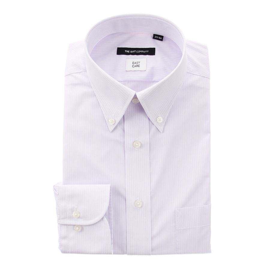 ドレスシャツ/長袖/メンズ/ボタンダウンカラードレスシャツ ストライプ 〔EC・BASIC〕 ホワイト×パープル