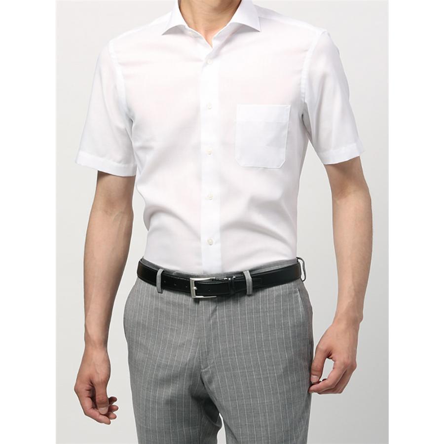 ドレスシャツ/半袖/メンズ/半袖/ホリゾンタルカラードレスシャツ 織柄 〔EC・BASIC〕 ホワイト