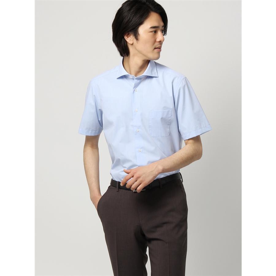 ドレスシャツ/半袖/メンズ/半袖/ホリゾンタルカラードレスシャツ 無地 〔EC・BASIC〕 ブルー