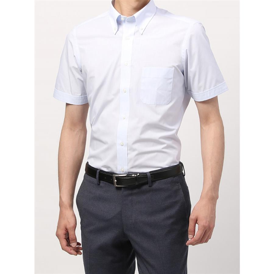 ドレスシャツ/半袖/メンズ/半袖/ボタンダウンカラードレスシャツ ピンストライプ 〔EC・BASIC〕 ホワイト×サックスブルー