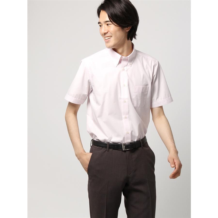 ドレスシャツ/半袖/メンズ/半袖/ボタンダウンカラードレスシャツ 無地 〔EC・BASIC〕 ピンク