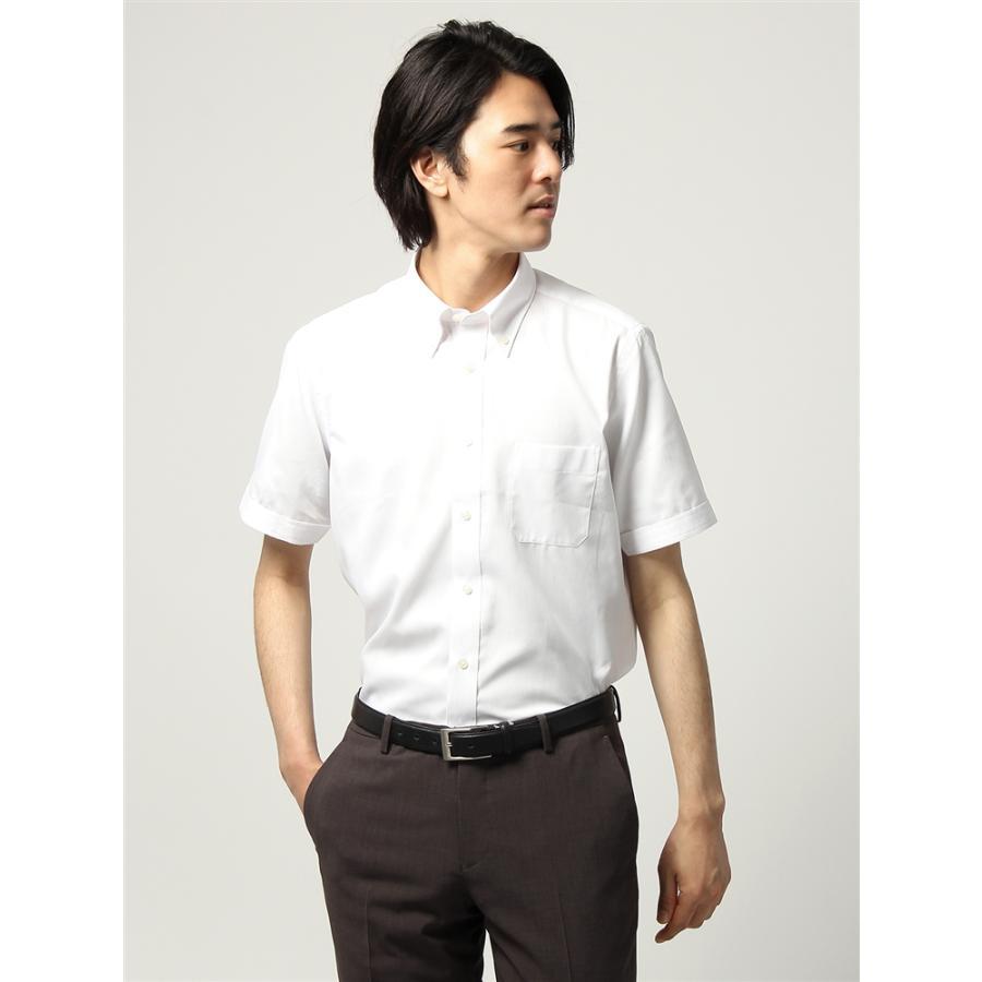 ドレスシャツ/半袖/メンズ/半袖/ボタンダウンカラードレスシャツ シャドーストライプ 〔EC・BASIC〕 ホワイト