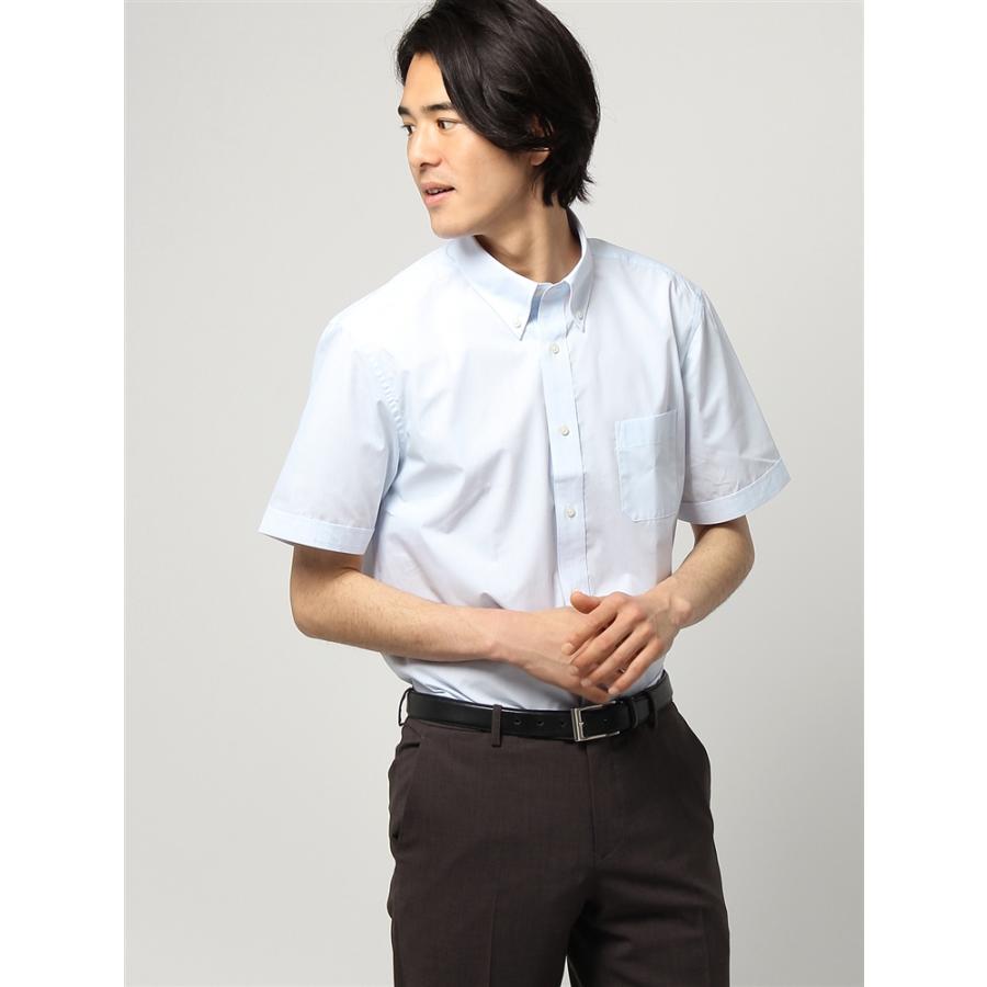 ドレスシャツ/半袖/メンズ/半袖/ボタンダウンカラードレスシャツ チェック 〔EC・BASIC〕 ホワイト×サックスブルー