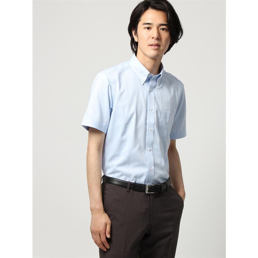 ドレスシャツ/半袖/メンズ/半袖/ボタンダウンカラードレスシャツ 織柄 〔EC・BASIC〕 ブルー×ホワイト