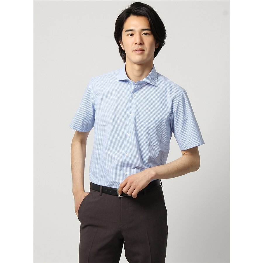 ドレスシャツ/半袖/メンズ/半袖/ホリゾンタルカラードレスシャツ ギンガムチェック 〔EC・BASIC〕 ブルー×ホワイト