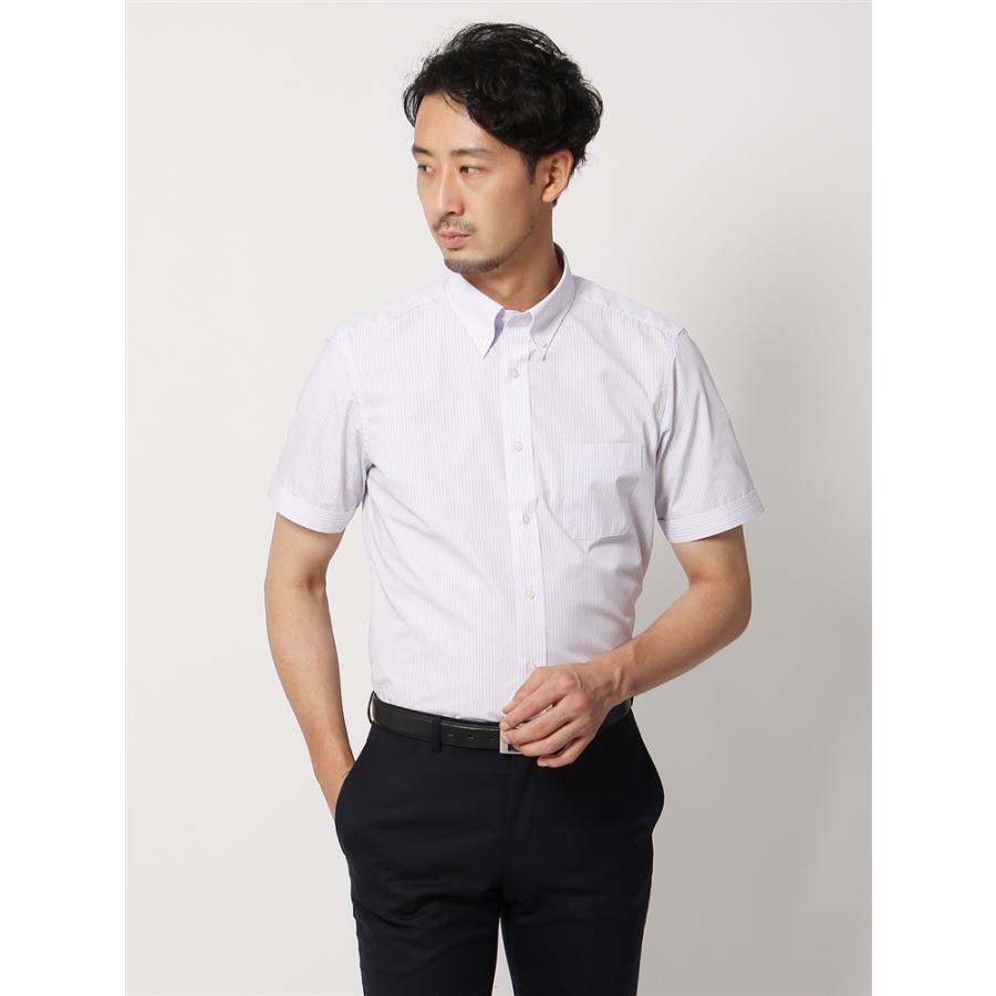 ドレスシャツ/半袖/メンズ/半袖/ボタンダウンカラードレスシャツ ストライプ 〔EC・BASIC〕 ホワイト×パープル