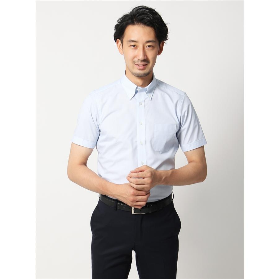 ドレスシャツ/半袖/メンズ/半袖/ボタンダウンカラードレスシャツ ストライプ×織柄 〔EC・BASIC〕 ホワイト×ブルー