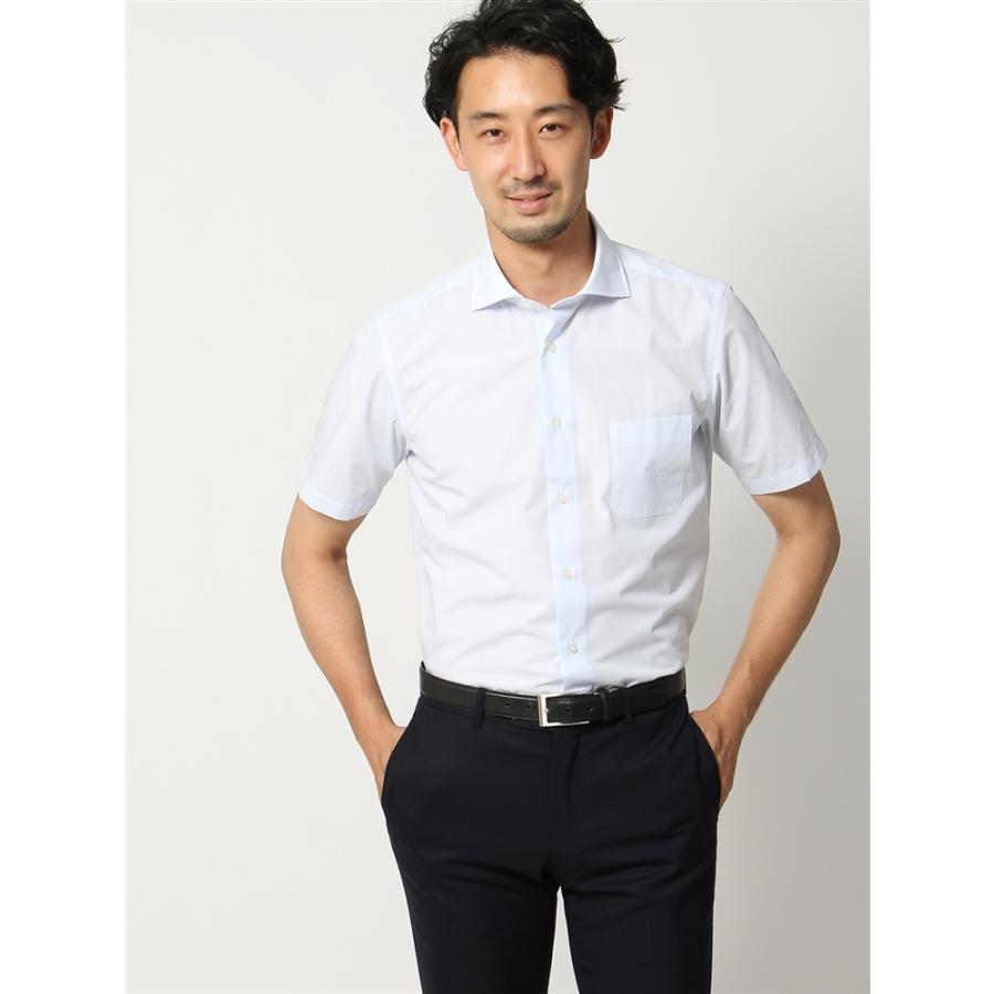 ドレスシャツ/半袖/メンズ/半袖/ホリゾンタルカラードレスシャツ ストライプ 〔EC・BASIC〕 ホワイト×サックスブルー