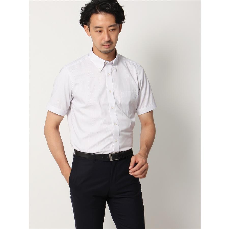 ドレスシャツ/半袖/メンズ/半袖/ボタンダウンカラードレスシャツ オルタネートストライプ 〔EC・BASIC〕 ホワイト×レッド×ブルー