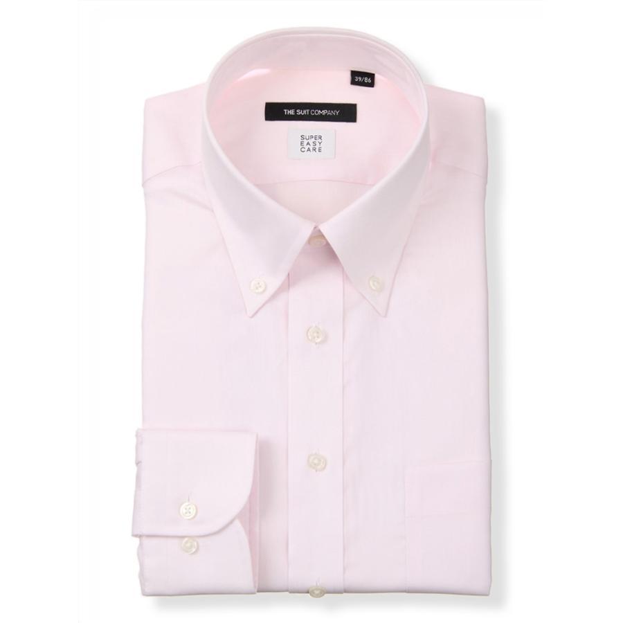 ドレスシャツ/長袖/メンズ/COOL MAX/ボタンダウンカラードレスシャツ 織柄 〔EC・BASIC〕 ピンク