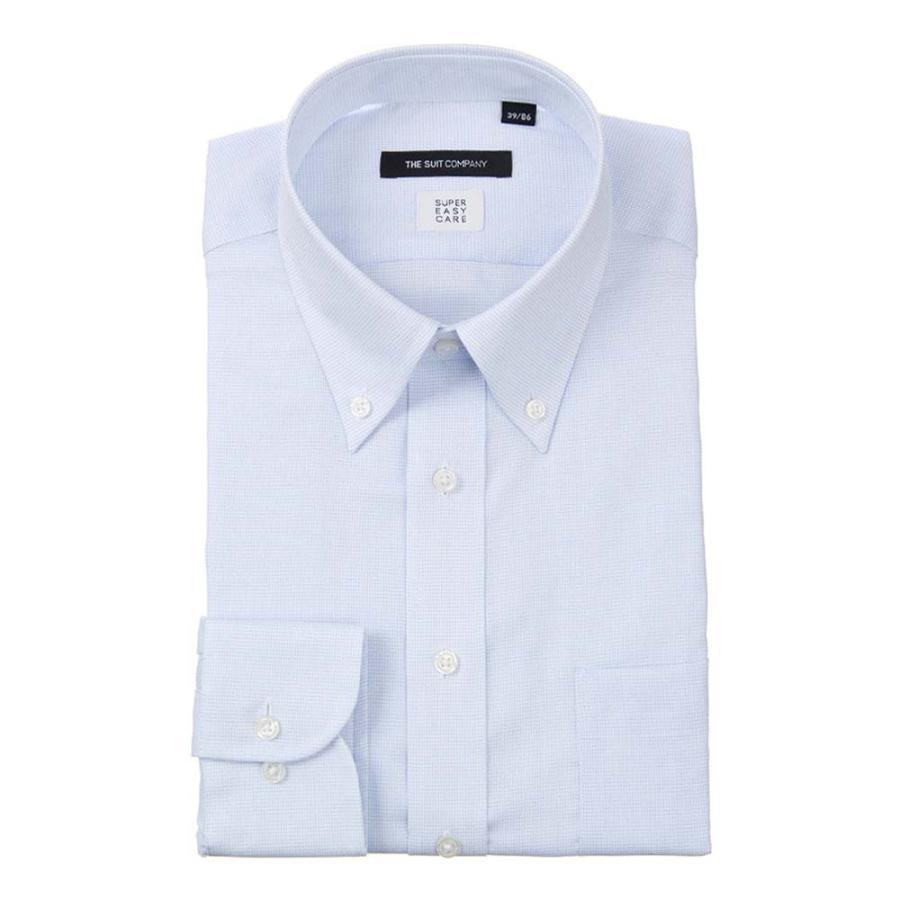 ドレスシャツ/長袖/メンズ/COOL MAX/ボタンダウンカラードレスシャツ グラフチェック 〔EC・BASIC〕 サックスブルー×ホワイト