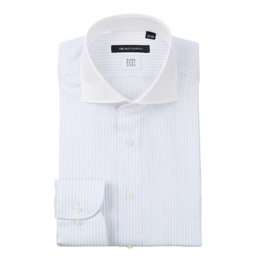 ドレスシャツ/長袖/メンズ/COOL MAX/クレリック&ホリゾンタルカラードレスシャツ ストライプ 〔EC・BASIC〕 サックスブルー×ホワイト