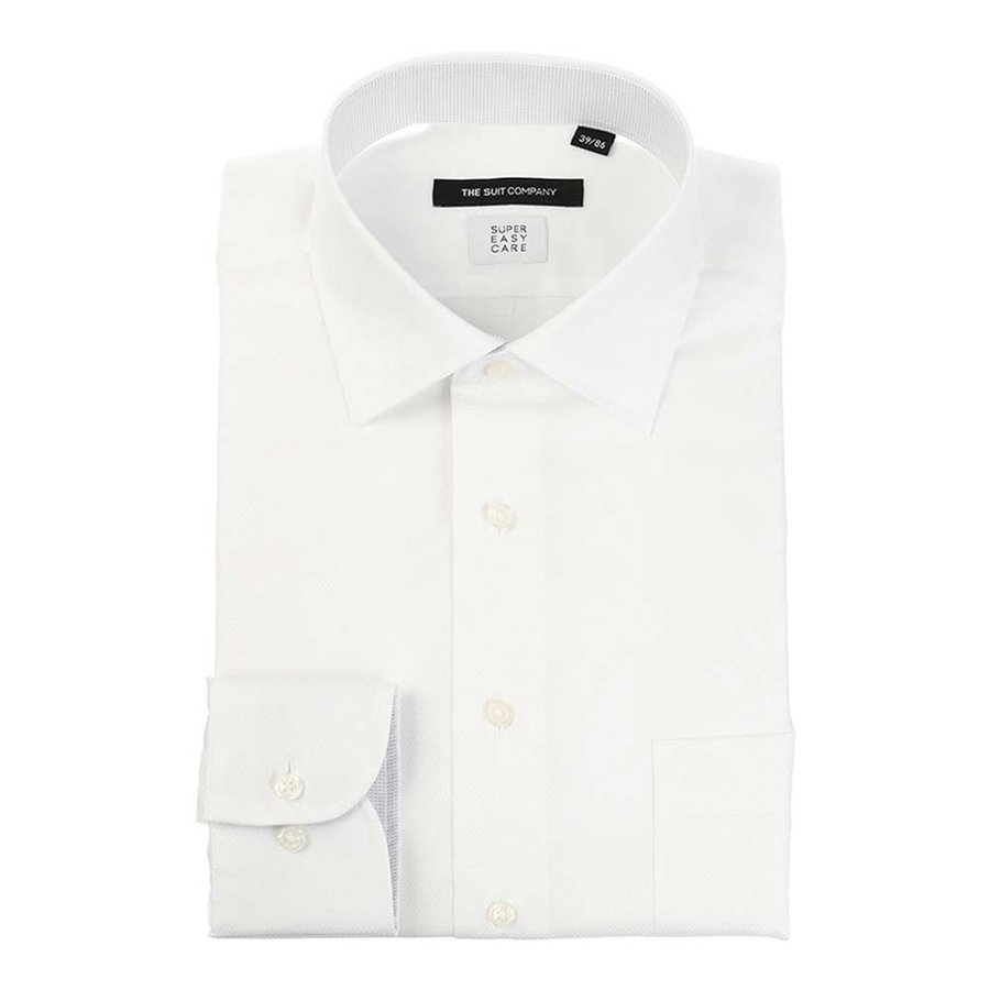 ドレスシャツ/長袖/メンズ/COOL MAX/ワイドカラードレスシャツ 織柄 〔EC・BASIC〕 ホワイト