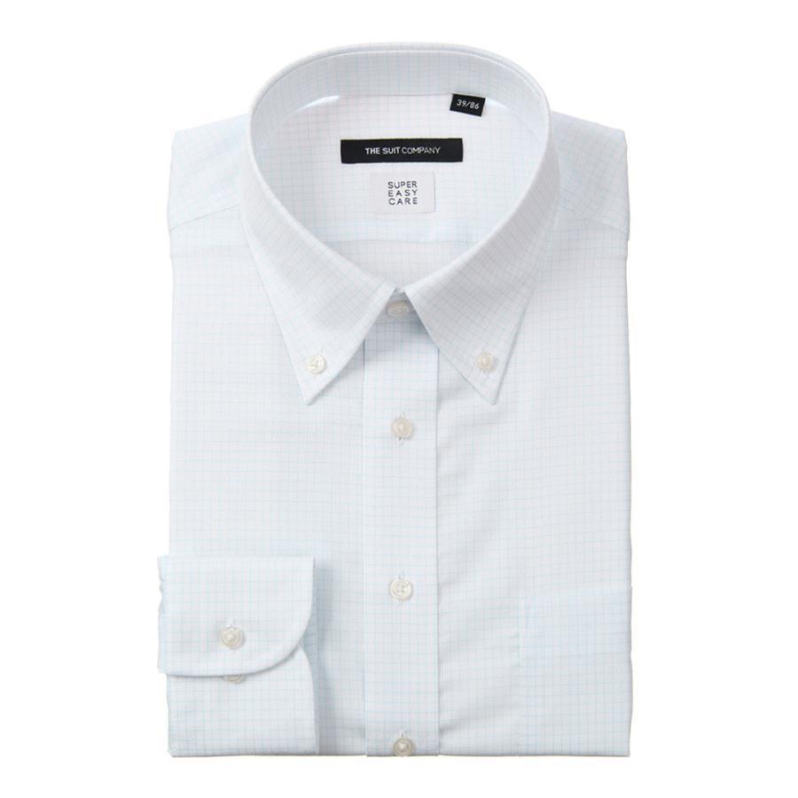 ドレスシャツ/長袖/メンズ/COOL MAX/ボタンダウンカラードレスシャツ グラフチェック 〔EC・BASIC〕 ホワイト×サックスブルー