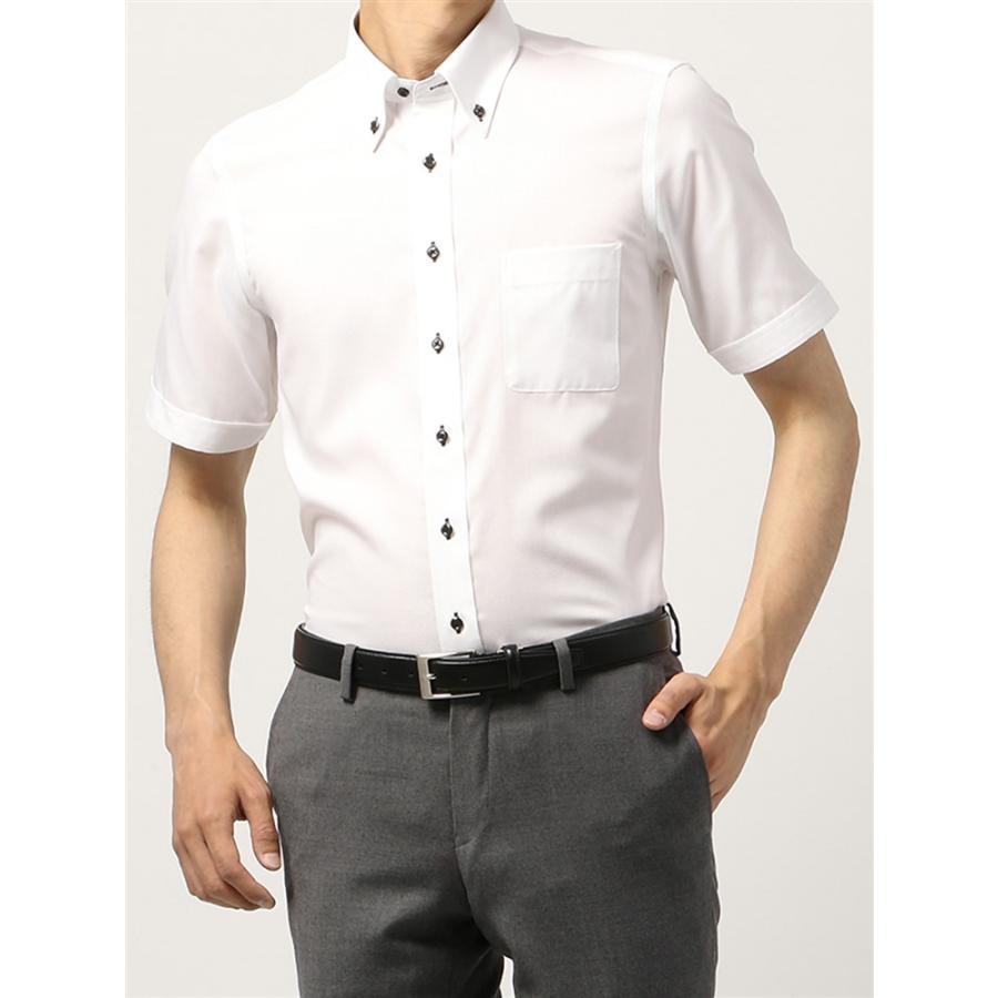 ドレスシャツ/半袖/メンズ/半袖・COOL MAX/ボタンダウンカラードレスシャツ 織柄 〔EC・BASIC〕 ホワイト