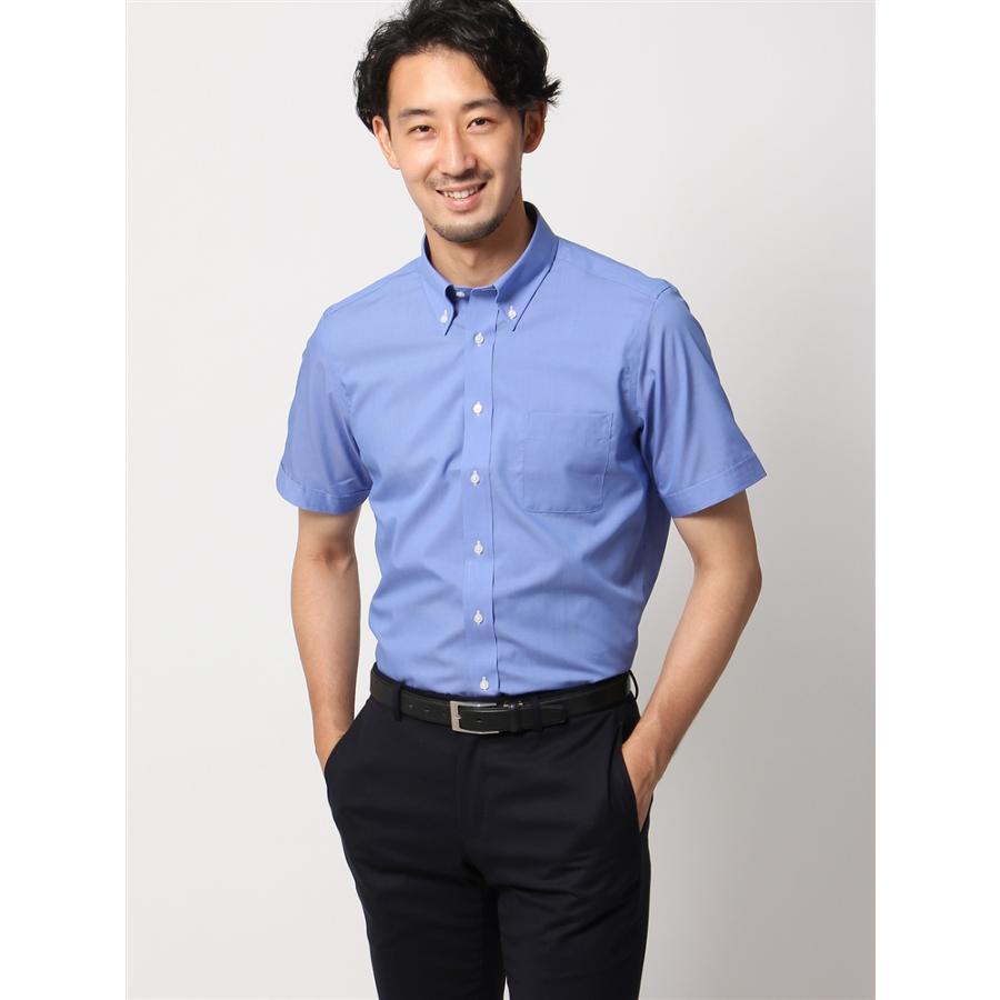 ドレスシャツ/半袖/メンズ/半袖・COOL MAX/ボタンダウンカラードレスシャツ 織柄 〔EC・BASIC〕 ブルー