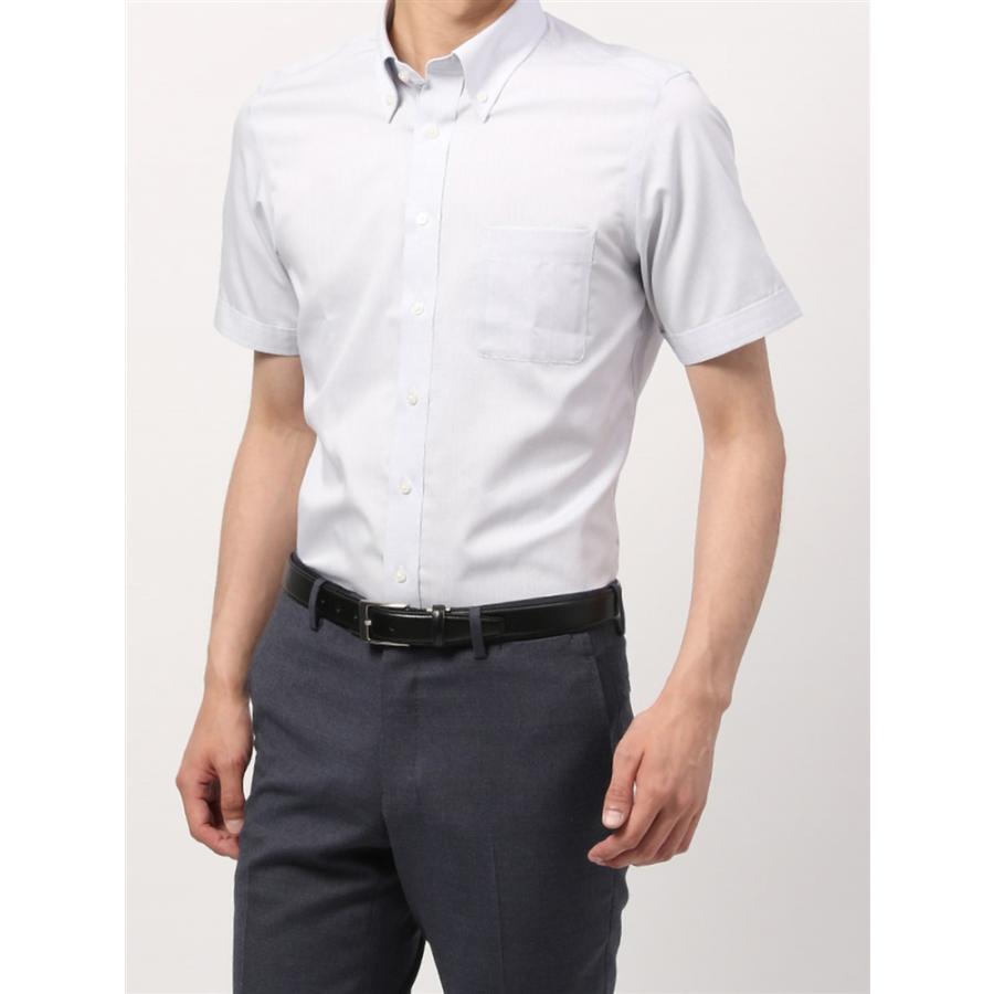 ドレスシャツ/半袖/メンズ/半袖・COOL MAX/ボタンダウンカラードレスシャツ ピンドット 〔EC・BASIC〕 ホワイト×ネイビー