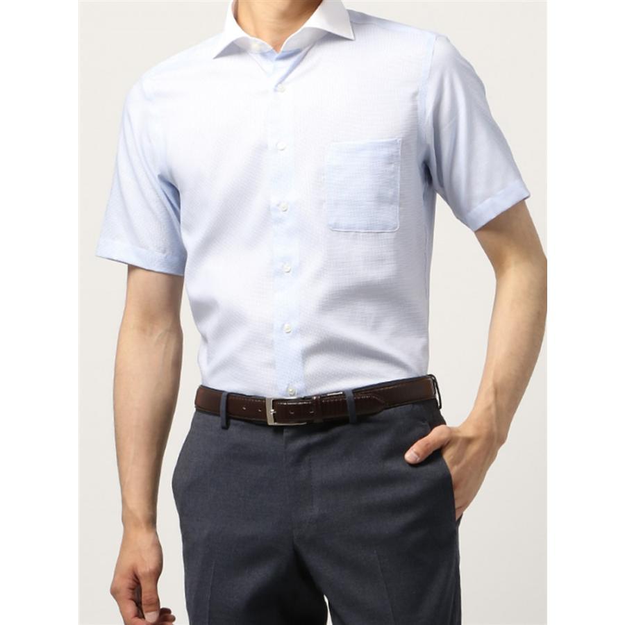 ドレスシャツ/半袖/メンズ/半袖・COOL MAX/クレリック&ホリゾンタルカラードレスシャツ 織柄 〔EC・BASIC〕 サックスブルー