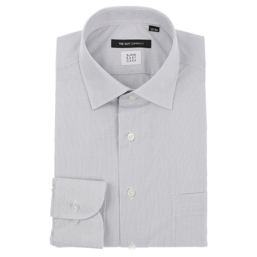 ドレスシャツ/長袖/メンズ/SUPER EASY CARE/ワイドカラードレスシャツ ストライプ 〔EC・BASIC〕 ライトグレー×ホワイト