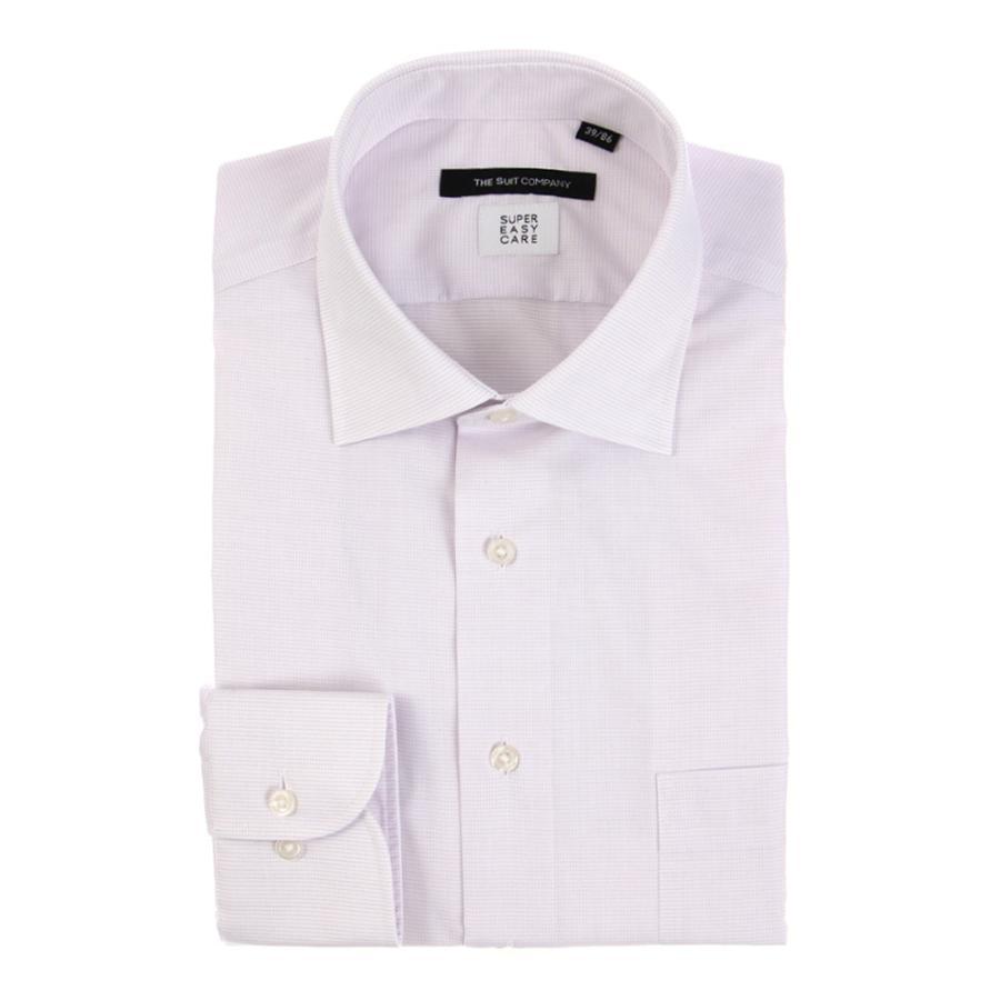 ドレスシャツ/長袖/メンズ/SUPER EASY CARE/ワイドカラードレスシャツ ピンドット 〔EC・BASIC〕 パープル