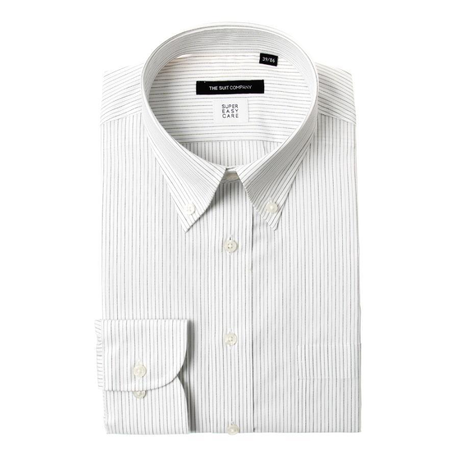 ドレスシャツ/長袖/メンズ/SUPER EASY CARE/ボタンダウンカラードレスシャツ ストライプ 〔EC・BASIC〕 ブラック×グレー×ホワイト