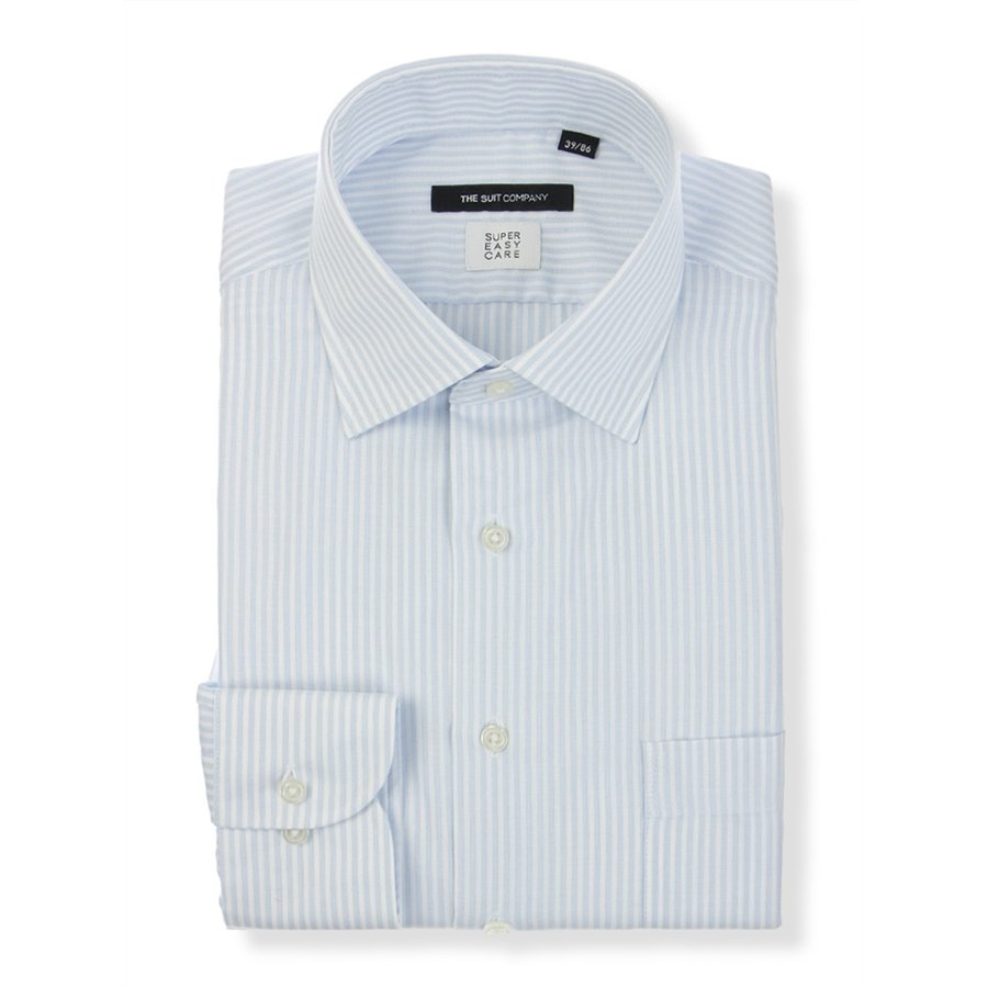 ドレスシャツ/長袖/メンズ/SUPER EASY CARE/ワイドカラードレスシャツ ストライプ 〔EC・BASIC〕 サックスブルー×ホワイト