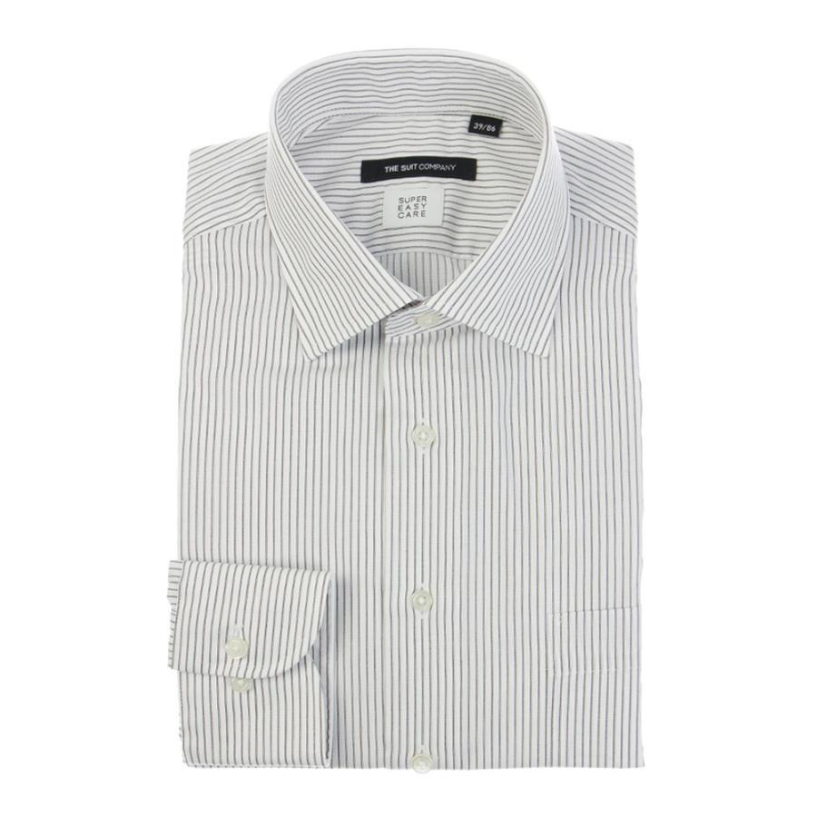 ドレスシャツ/長袖/メンズ/SUPER EASY CARE/ワイドカラードレスシャツ ストライプ 〔EC・BASIC〕 ホワイト×ブラウン