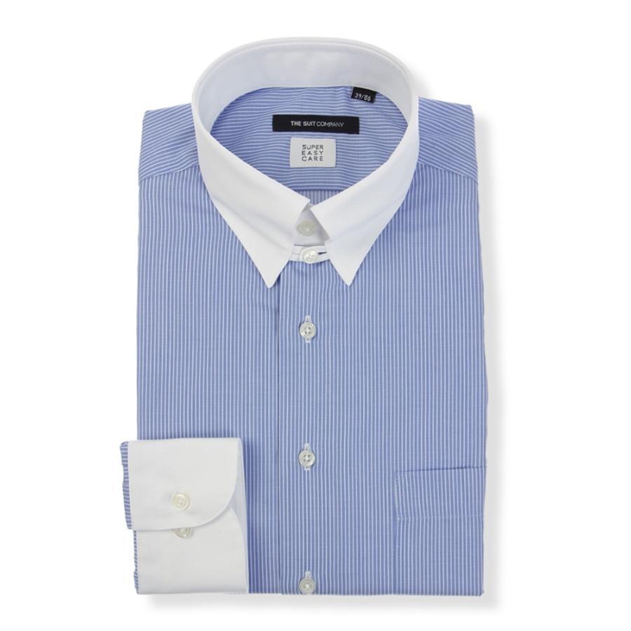 ドレスシャツ/長袖/メンズ/SUPER EASY CARE/クレリック&タブカラードレスシャツ 〔EC・BASIC〕 ブルー×ホワイト