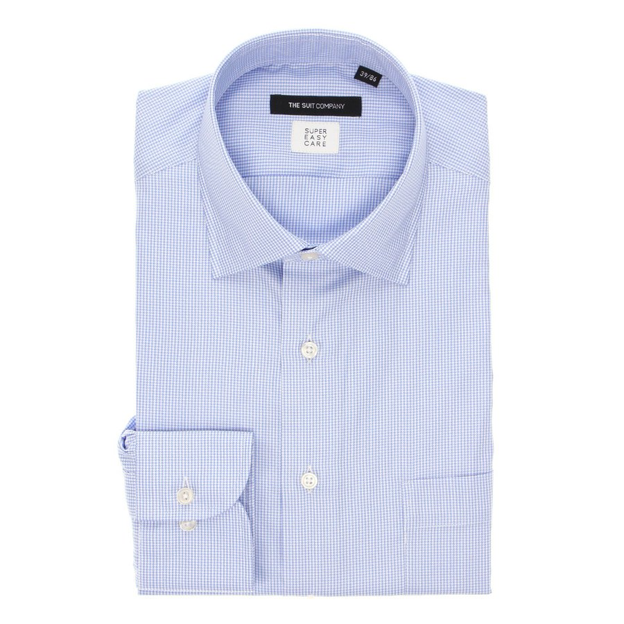 ドレスシャツ/長袖/メンズ/THERMO LITE/ワイドカラードレスシャツ ハウンドトゥース〔EC・BASIC〕 ブルー×ホワイト
