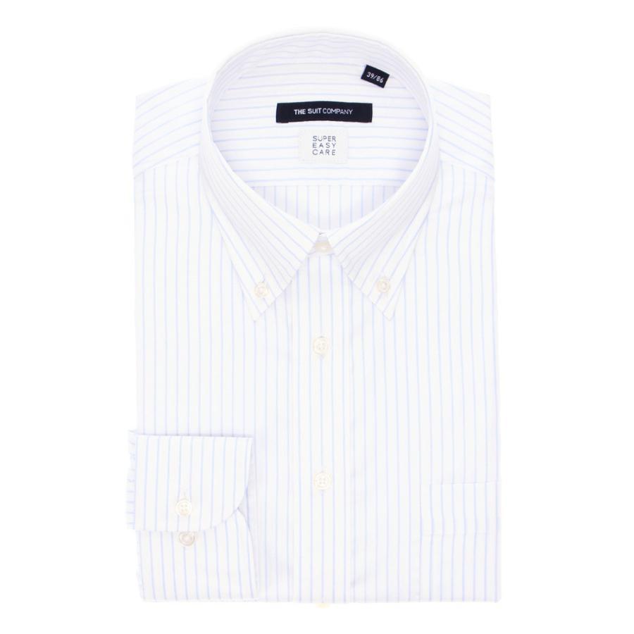 ドレスシャツ/長袖/メンズ/THERMO LITE/ボタンダウンカラードレスシャツ ストライプ 〔EC・BASIC〕 ホワイト×サックスブルー