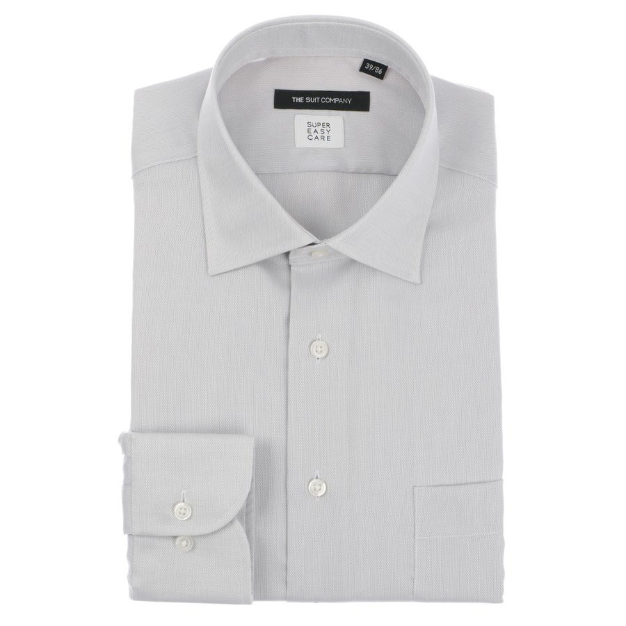 ドレスシャツ/長袖/メンズ/SUPER EASY CARE/ワイドカラードレスシャツ 織柄 〔EC・BASIC〕 ライトグレー