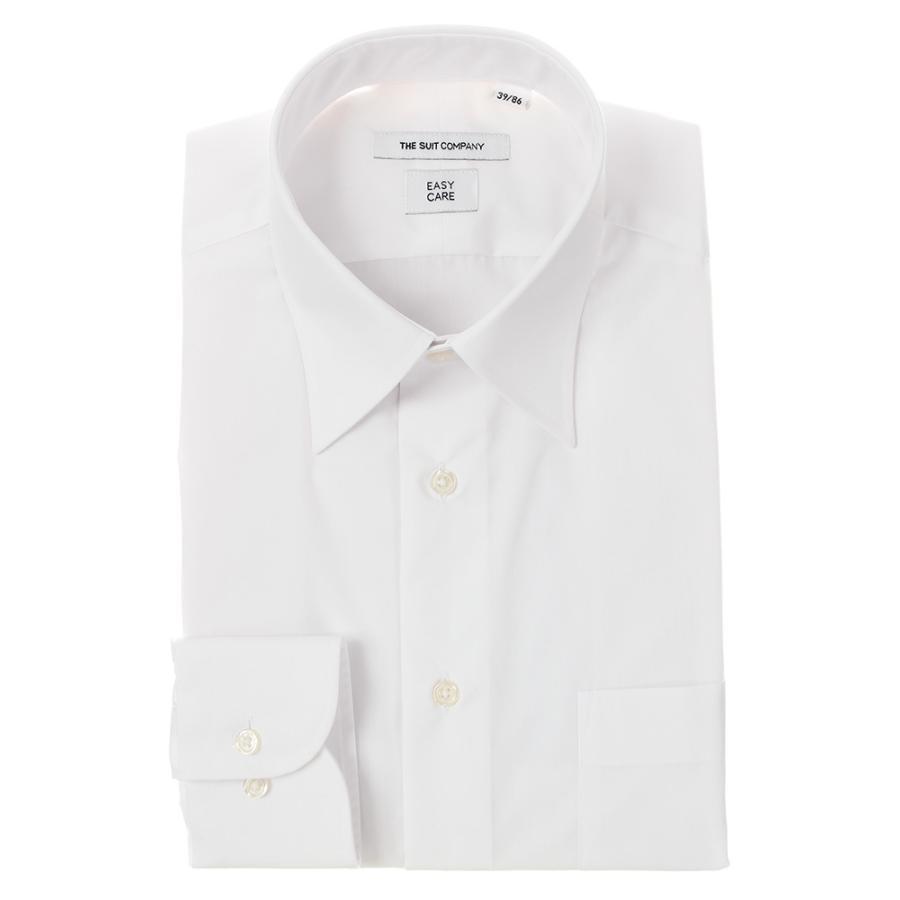 ドレスシャツ/長袖/メンズ/レギュラーカラードレスシャツ 無地 〔EC・FIT〕 ホワイト