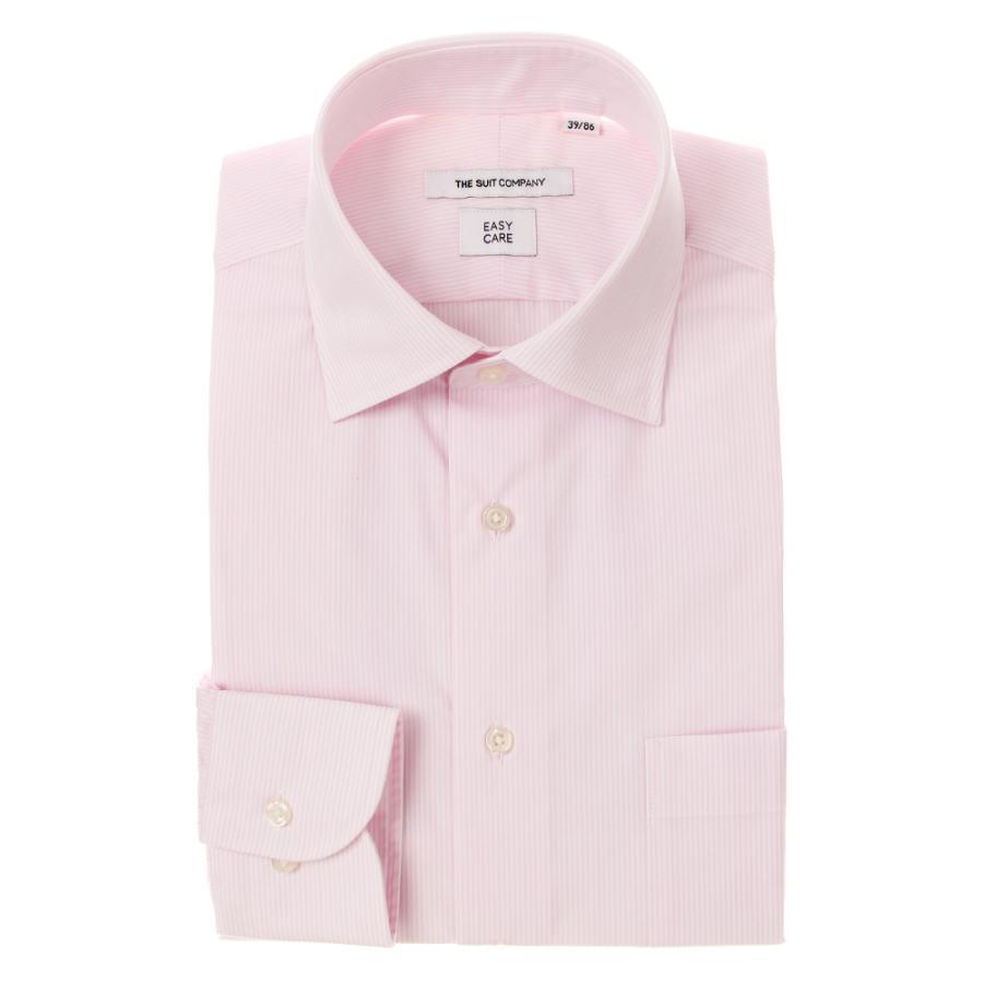 ドレスシャツ/長袖/メンズ/ワイドカラードレスシャツ ストライプ 〔EC・FIT〕 ピンク×ホワイト