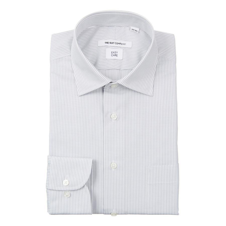 ドレスシャツ/長袖/メンズ/ワイドカラードレスシャツ ストライプ 〔EC・FIT〕 ライトグレー×ホワイト