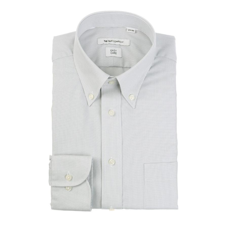 ドレスシャツ/長袖/メンズ/ボタンダウンカラードレスシャツ ストライプ 〔EC・FIT〕 ライトグレー×ホワイト