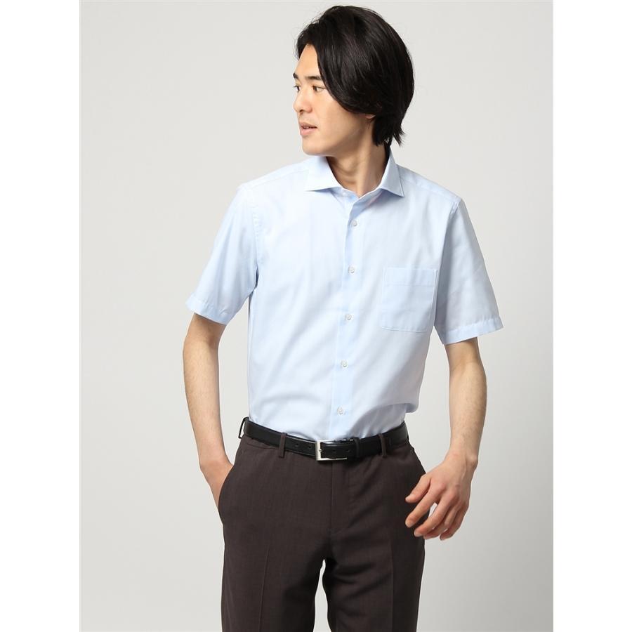 ドレスシャツ/半袖/メンズ/半袖/ホリゾンタルカラードレスシャツ 織柄 〔EC・FIT〕 サックスブルー