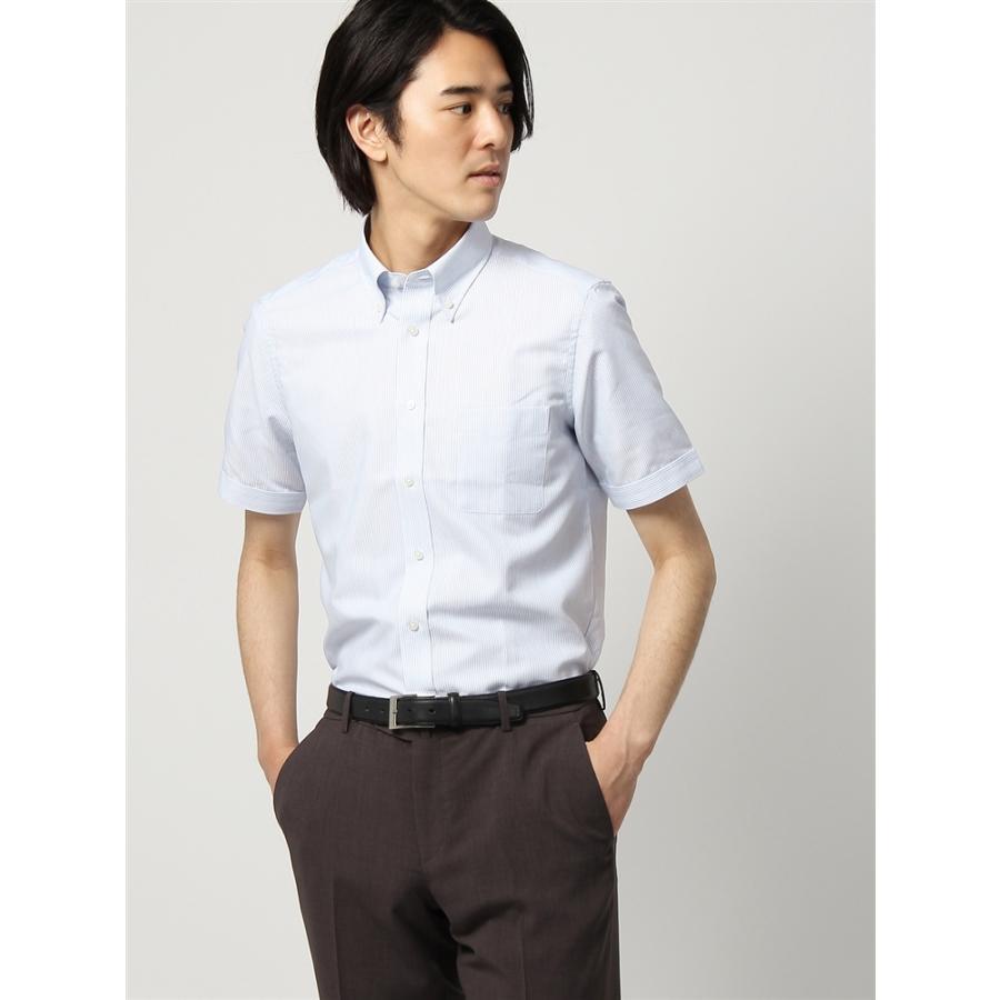ドレスシャツ/半袖/メンズ/半袖/ボタンダウンカラードレスシャツ ストライプ 〔EC・FIT〕 ホワイト×ブルー×ネイビー