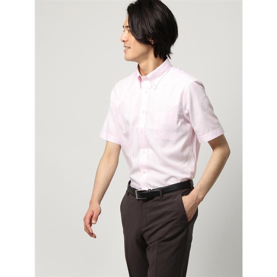 ドレスシャツ/半袖/メンズ/半袖/ボタンダウンカラードレスシャツ 織柄 〔EC・FIT〕 ピンク