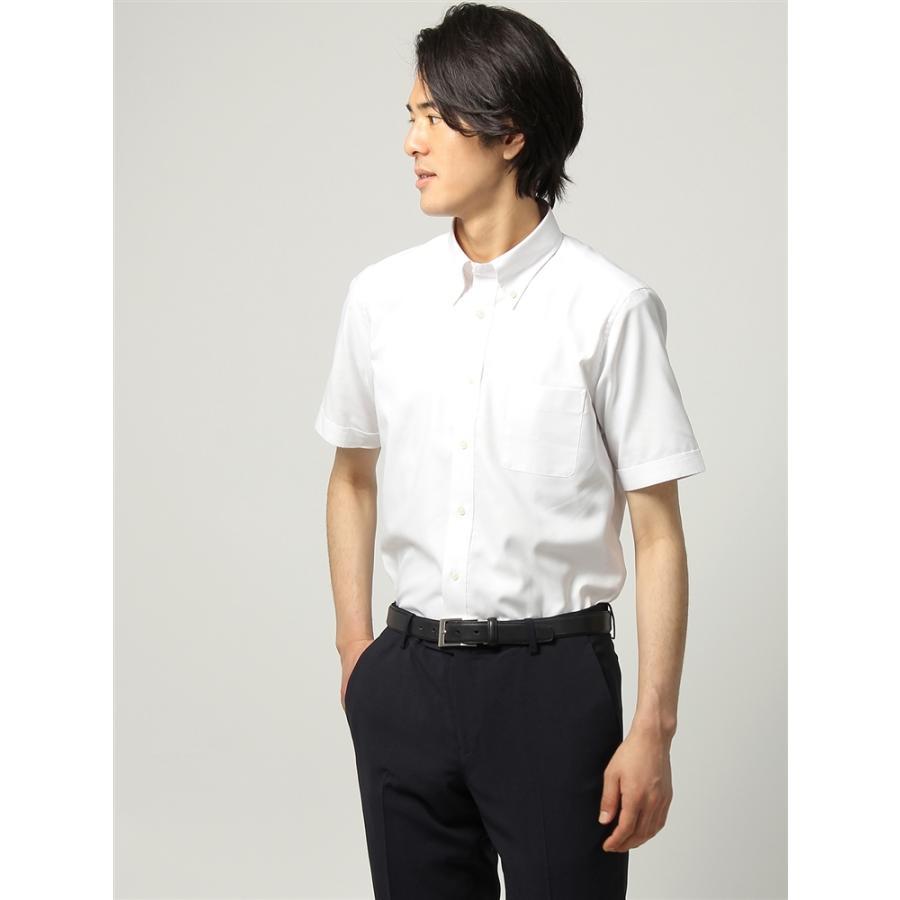 ドレスシャツ/半袖/メンズ/半袖/ボタンダウンカラードレスシャツ 織柄 〔EC・FIT〕 ホワイト