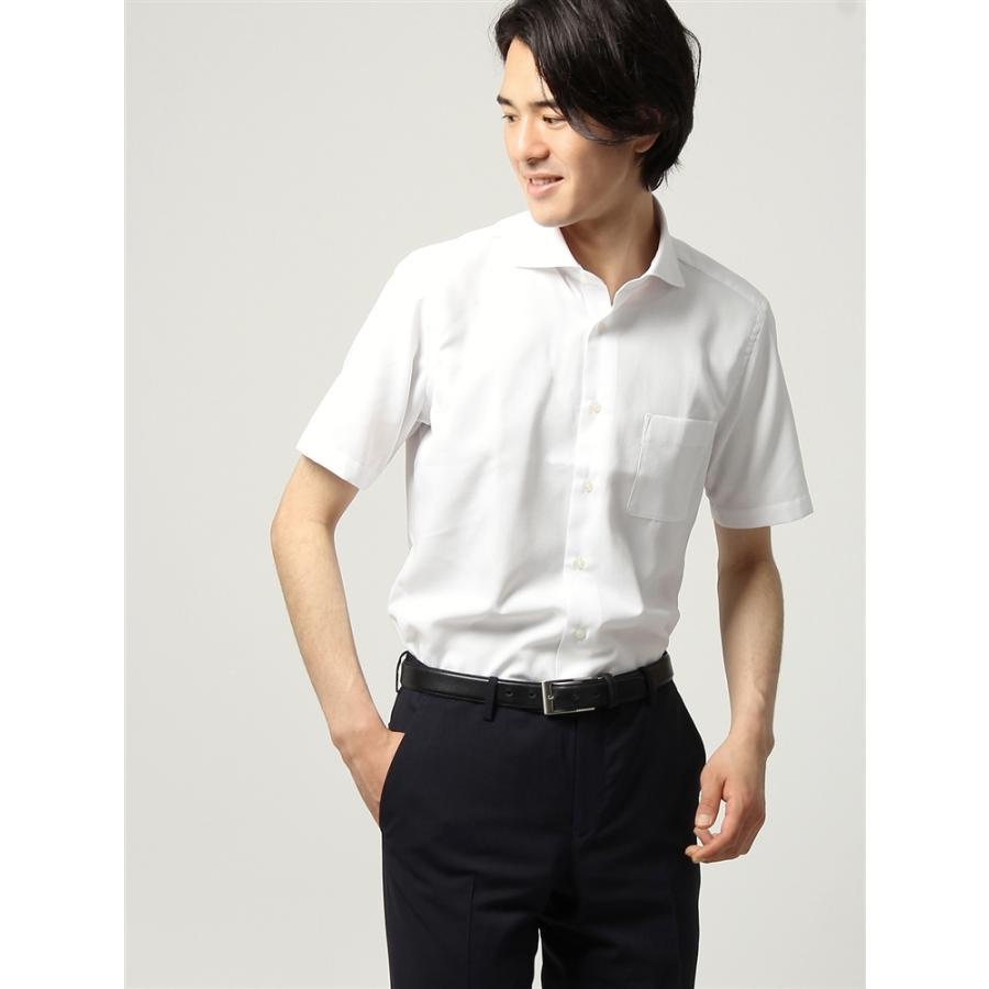 ドレスシャツ/半袖/メンズ/半袖/ホリゾンタルカラードレスシャツ 織柄 〔EC・FIT〕 ホワイト