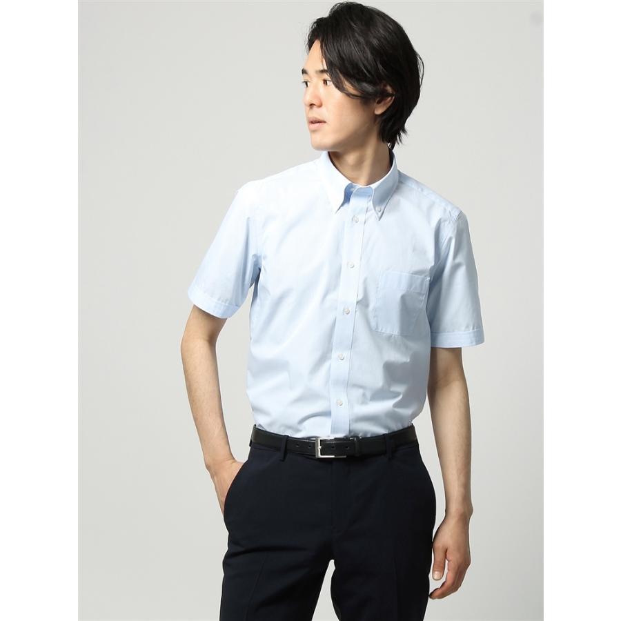 ドレスシャツ/半袖/メンズ/半袖/ボタンダウンカラードレスシャツ ギンガムチェック 〔EC・FIT〕 サックスブルー×ホワイト