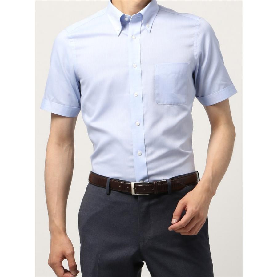 ドレスシャツ/半袖/メンズ/半袖/ボタンダウンカラードレスシャツ 織柄 〔EC・FIT〕 ブルー×ホワイト
