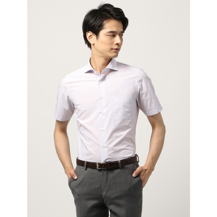 ドレスシャツ/半袖/メンズ/半袖/ホリゾンタルカラードレスシャツ ピンストライプ 〔EC・FIT〕 ホワイト×パープル