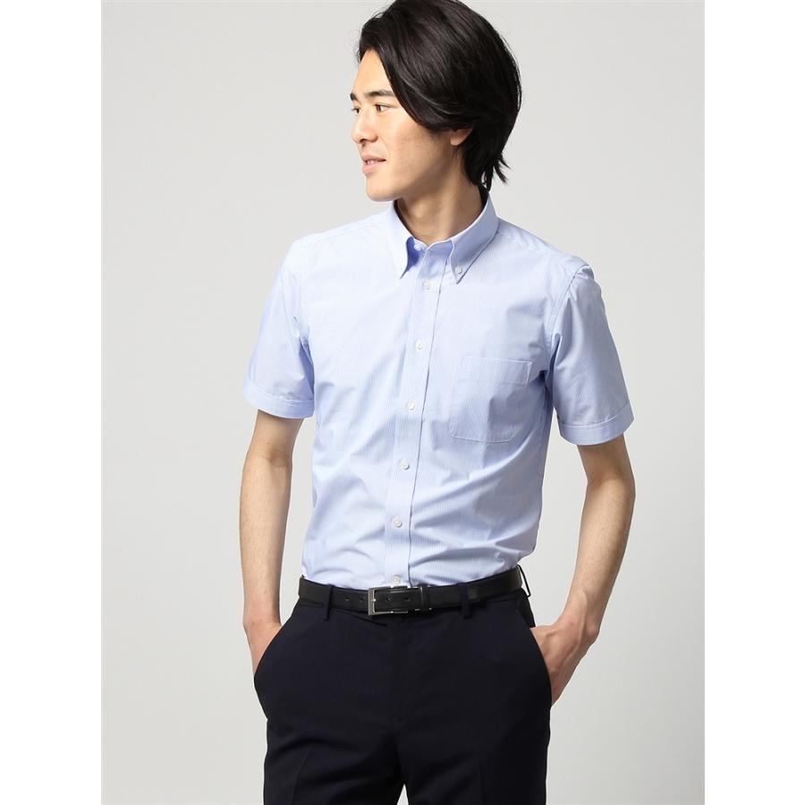 ドレスシャツ/半袖/メンズ/半袖/ボタンダウンカラードレスシャツ ストライプ 〔EC・FIT〕 ブルー×ホワイト