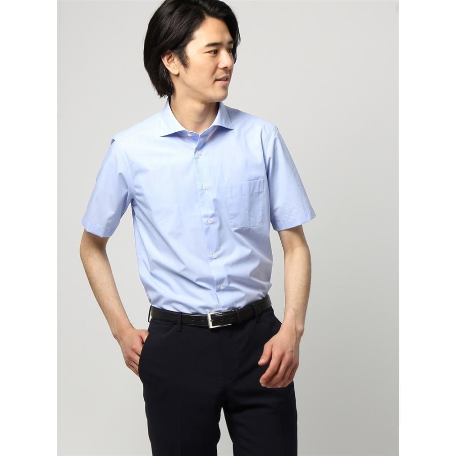 ドレスシャツ/半袖/メンズ/半袖/ホリゾンタルカラードレスシャツ 織柄 〔EC・FIT〕 ブルー
