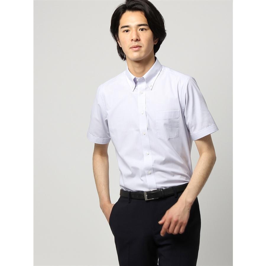 ドレスシャツ/半袖/メンズ/半袖/ボタンダウンカラードレスシャツ 無地 〔EC・FIT〕 ライトグレー
