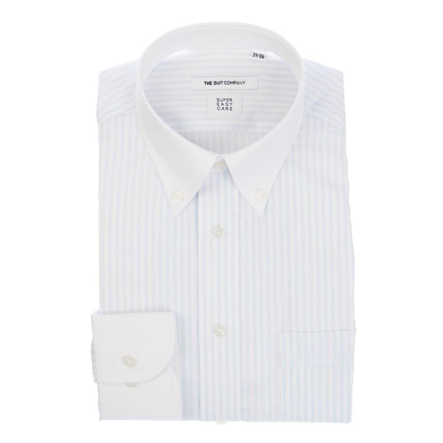 ドレスシャツ/長袖/メンズ/COOL MAX/クレリック&ボタンダウンカラードレスシャツ 〔EC・FIT〕 ホワイト×サックスブルー